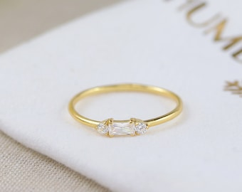 Sterling Silver / Gold plated / Rose Gold plated Baguette ring   dainty stackable rings   rose gold ring   silver dainty ring   3 stone ring