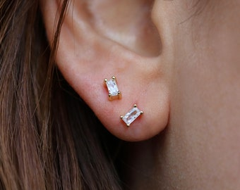 87654751a Sterling Silver / Gold plated tiny baguette stud earrings   second hole  earrings   tiny rectangle studs   Baguette shaped studs   dainty