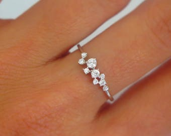 Sterling Silver & Cubic Zirconia Cluster ring | Silver CZ Cluster ring | Stackable ring | Dainty stackable rings | Unique stackables |
