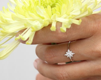 Sterling Silver Sparkle Starburst ring | Star ring | cluster ring | Dainty stackable ring |  Sun beam ring | Everyday rings | gifts for her