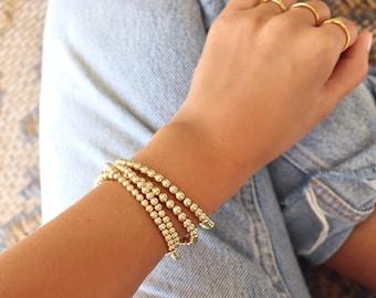 Stainless Steel beaded bracelet   Tarnish free gold ball bracelets   multi bead balls   stretch ball bracelet, stacking stretch bracelet