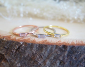 Single tiny baguette cubic zirconia ring on silver band, minimalist ring, pink gold and baguette, yellow gold and baguette stacking ring