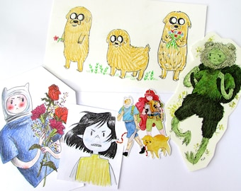 Adventure Time fan art original illustration drawings and sticker pack