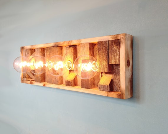 Vanity Light Bathroom Light Fixture Reclaimed Wood Scrap Etsy