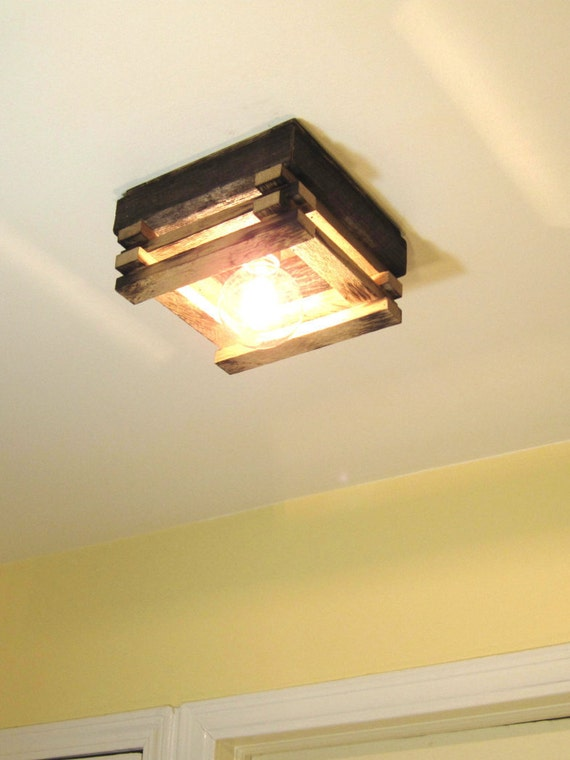 detailed look 57d17 6cf72 Ceiling Light Fixture - Flush Mount - for Home, Hallway, Loft etc. Handmade  from reclaimed wood!