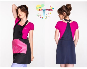 Dog Grooming apron for women NEOGROOMER Dark blue Salon Apron Grooming equipment Grooming clothing groomers clothing