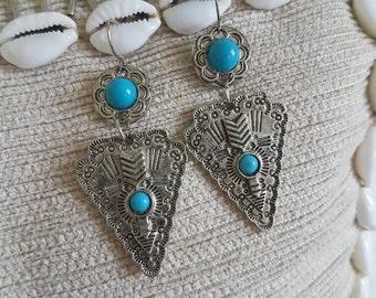 Silver and turquoise beaded nickel free boho gypsy  arrow earrings
