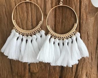 White and gold  boho tassle  earrings