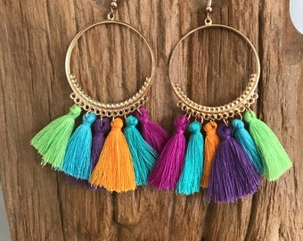 Rainbow boho tassle  earrings