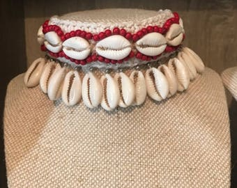 Cowrie shell statement choker necklace red boho gypsy festival