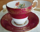 Vintage Paragon Bright Maroon Deep Red with spring floral sprays, gold filigree design, scallop teacup, wedding gift, bridal shower-MW