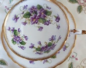Rare Vintage Paragon teacup saucer, VALENTINE, violet flowers, beige peach swirl, gold filigree, Made in England, gift for her, tea party