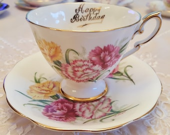 Royal Standard Happy Birthday teacup, pink yellow carnations, floral teacup, Made in England, bridesmaid gift, afternoon tea, gift for her