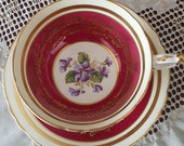 Vintage Paragon teacup saucer, violet flowers, Red Maroon teacup, gold filigree, Made in England, tea party gift, double warrant