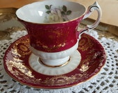 Vintage Paragon Bright Maroon Deep Red with solo white cabbage rose, gold filigree design, scallop teacup, wedding gift, bridal shower-MW