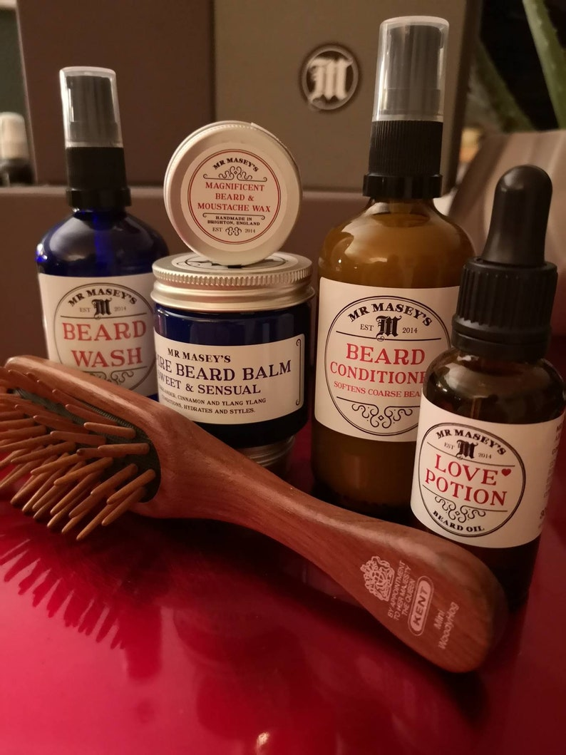 Beard Kit - Beard Oil, Beard Wash, Beard Conditioner, Beard Balm, Moustache  Wax, Beard Brush  Vegan  by Mr Masey