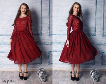 Tea Length Lace Casual Dresses
