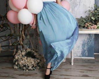 Blue skirt, chiffon skirt, full length skirt, bridesmaid skirt, maxi skirt, summer,bridal skirt, knee length skirt, wedding skirt