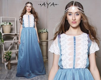 Formal gauze lace chiffon blue bridal pageant maxi feminine vintage  style bachelorette party evening prom rustic wedding bridesmaid dress
