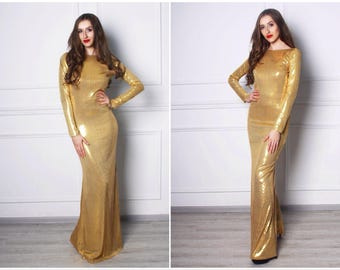 Gold sequins maxi feminine style mermaid party woman evening prom bodycon wedding dress