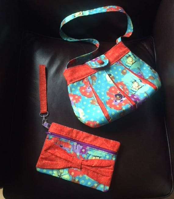 Pleated Poppies Bag and Wristlet Set