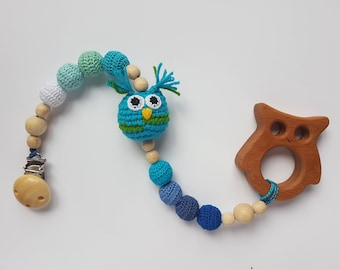 Pacifier clip holder baby teething toy teether pacifier holder baby gift baby toy baby boy toy teething baby dummy holder natural toy