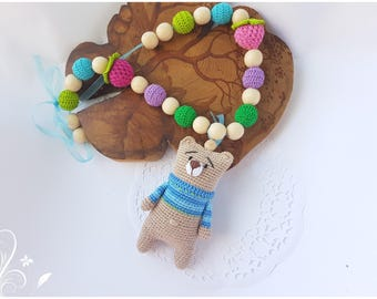Bear nursing necklaces teething necklace baby toy sling accessories rattle stroller toy baby teething toy baby gift  toddler gift teddy bear