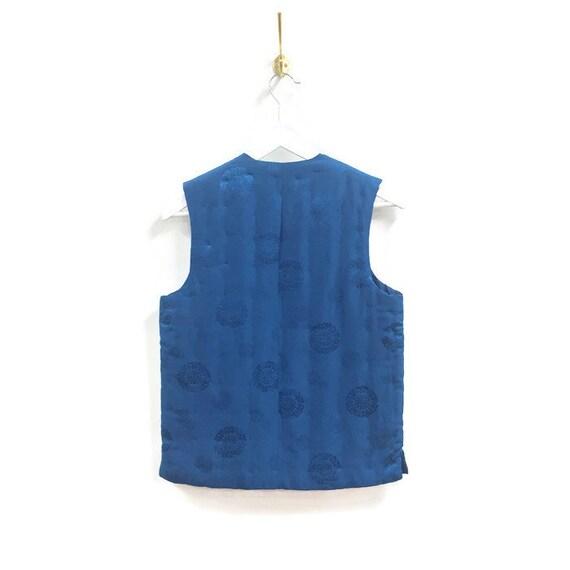 Brilliant blue 'Double Horse' silk vest