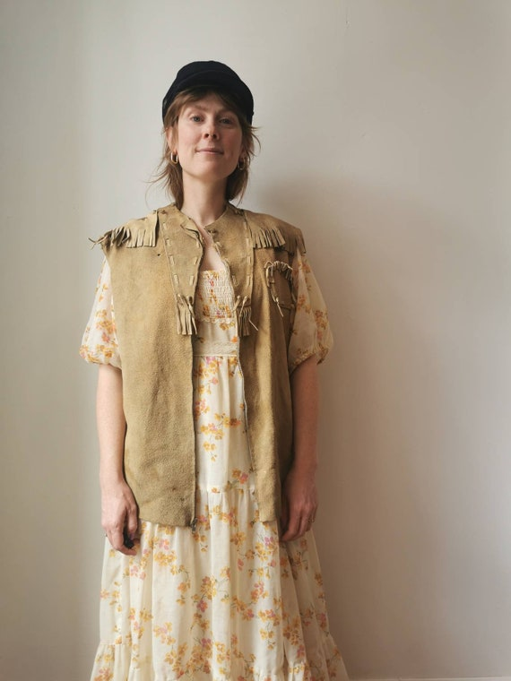 70s Buckskin Fringe Vest // L-XL