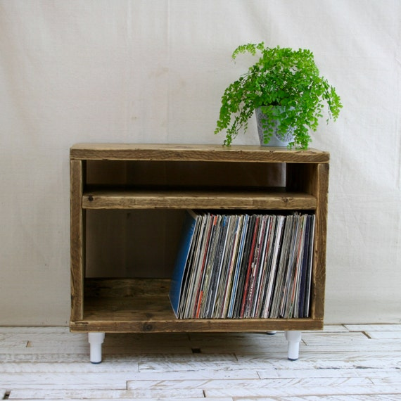 Reclaimed Wood Tv Stand Record Player Vinyl Unit White Leg Etsy