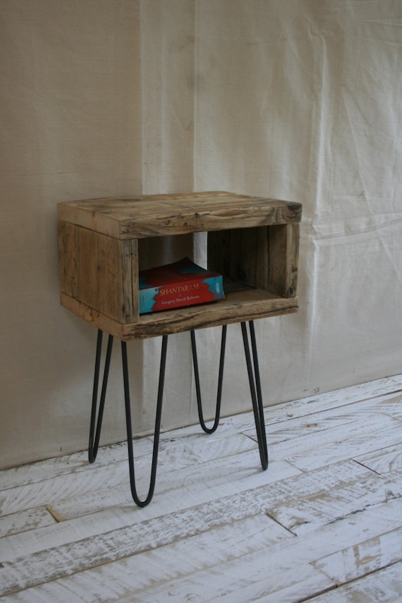 best sneakers aa6a3 dbc3c Pair Of Hairpin Leg Bedside Tables Made From Reclaimed Scaffold Boards