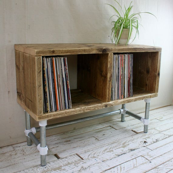 Reclaimed Industrial Scaffold Board Record Player Stand Tv