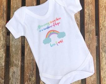 5b468bc750e3 Rainbow baby gift, rainbow baby vest, rainbow announcement, new baby gift,  rainbow baby shower, rainbow baby grow, rainbow baby clothes