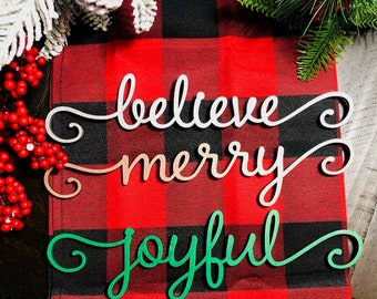 Wooden Laser Cut/Plate Setting/Christmas Signs/Holiday Words/ Christmas Table Decorations/Holiday Décor/Personalized Dinner Table