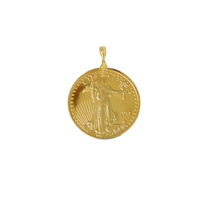 Krugerrand Coin Necklace Pendant 24k Gold Plated Mens Accessories No Chain Great Gift Idea Birthday Fathers Day TLS