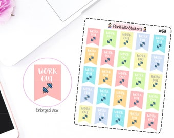 069 - Work Out Workout Ribbon Flag Stickers in Light Pastel Gradient for Erin Condren
