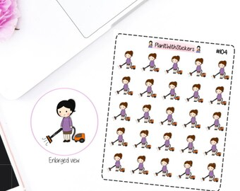 104 - Katie (Kawaii Girl) Vacuuming Cleaning Household Chores Stickers for your planner
