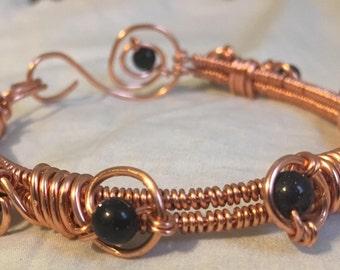 Copper and Blue Goldstone Bracelet