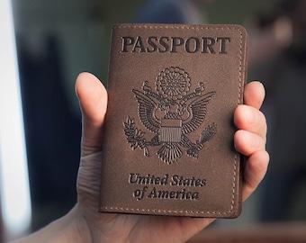 Brown Chocolate Leather Passport Holder - Passport Cover - Passport Case