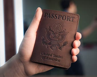 Passport Holder - Passport Cover - Dark Brown Leather Passport Case