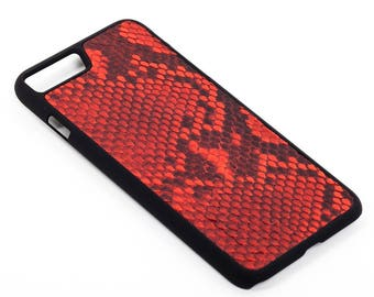 Red Leather Case with natural Python Leather for iPhone 8/8 Plus 7/7 Plus & 6/6 Plus