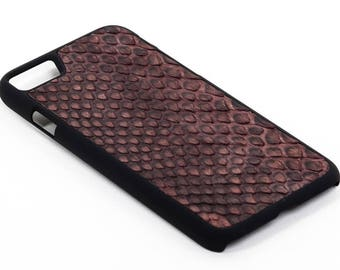 Brown Leather Case with natural Python Leather for iPhone 8/8 Plus, 7/7 Plus & 6/6 Plus