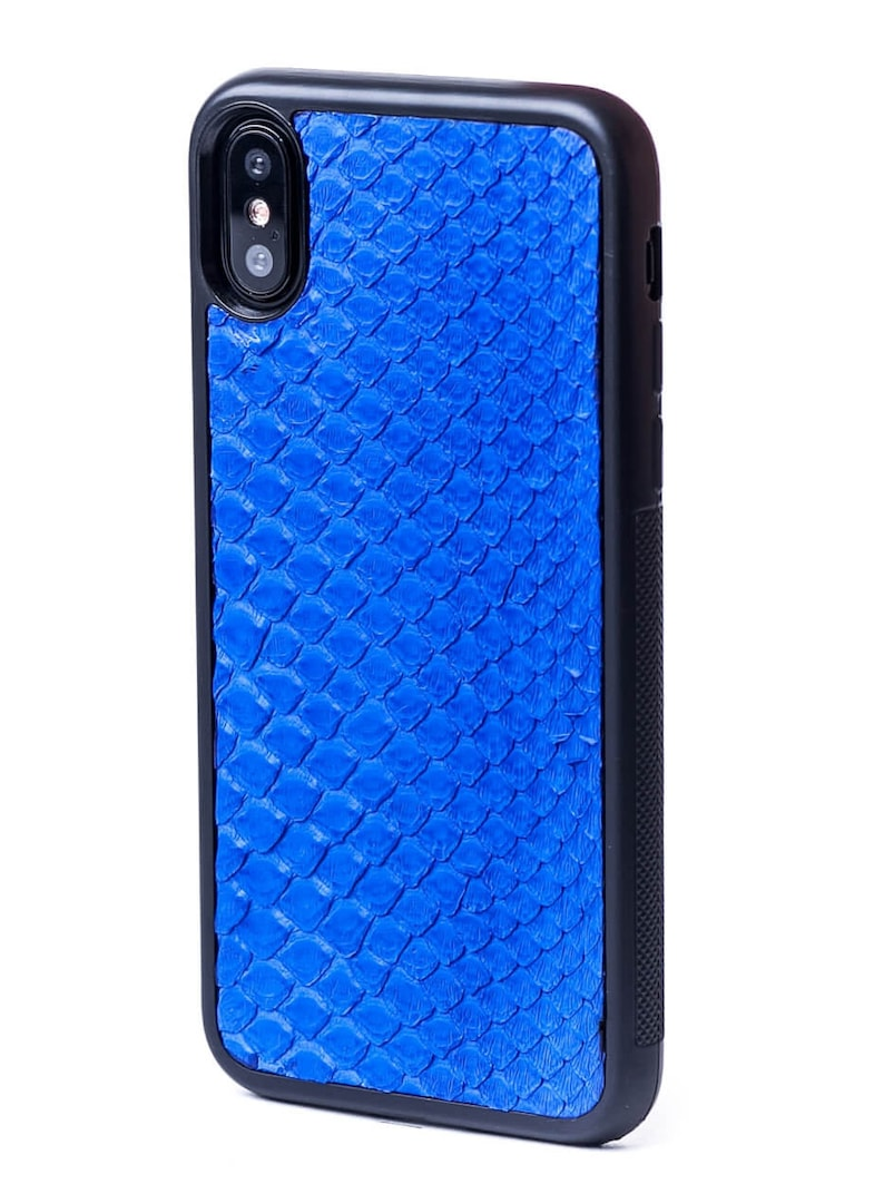 new style 3eaaa 39d55 Blue Leather Case with natural Python Leather for iPhone X - iPhone X  Python Leather Case