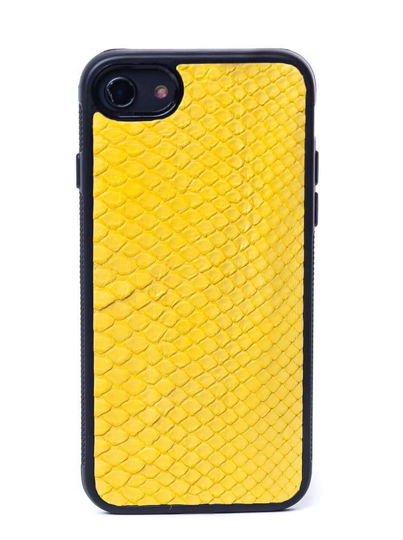 Yellow Leather Case with natural Python Leather for iPhone 7/8 & iPhone 7  Plus/8 Plus