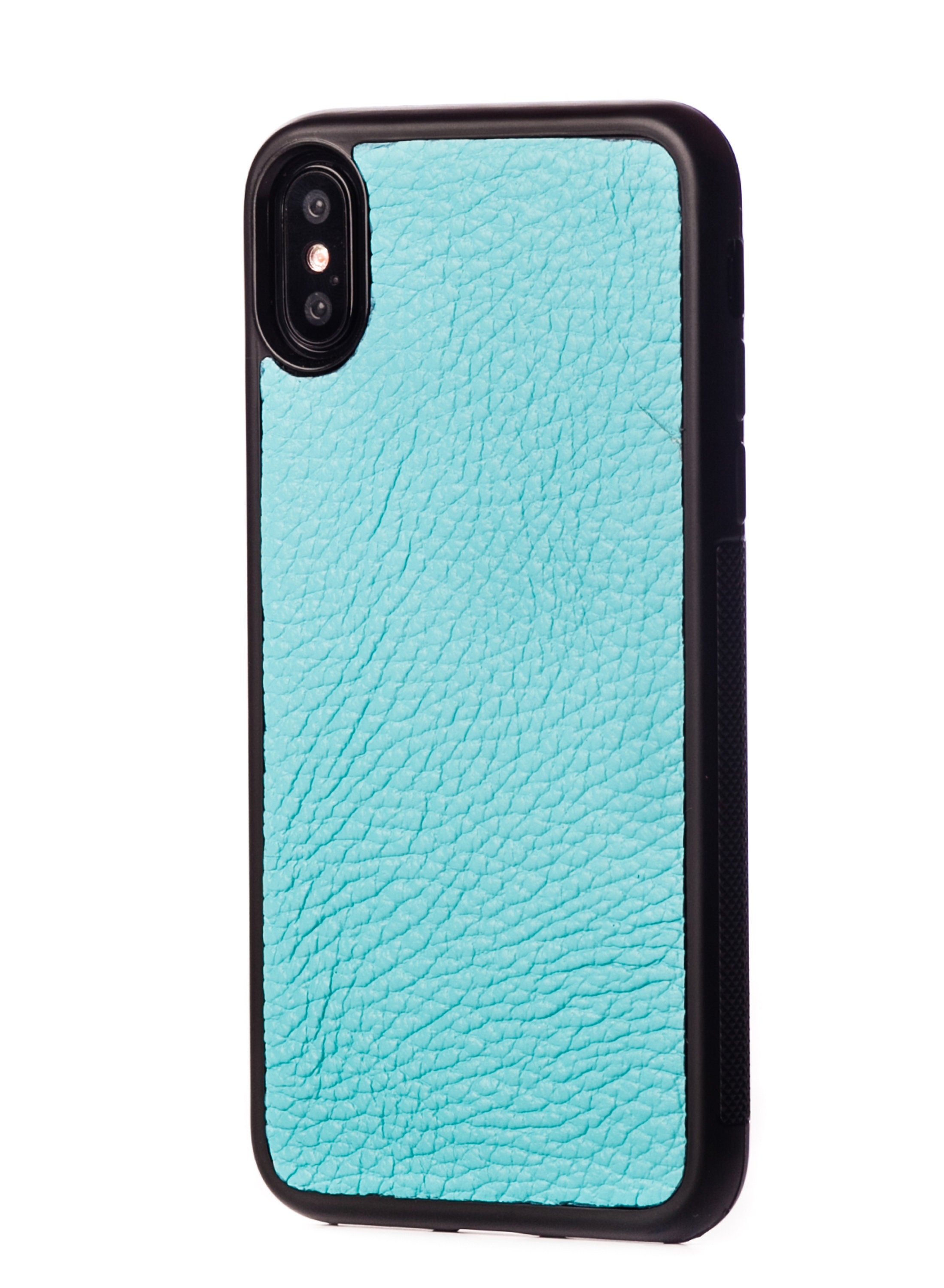 cheaper 2b8ed 1906f Tiffany Case with natural Cow Leather for iPhone X - iPhone X Leather Case  - iPhone X Cow Leather Case - iPhone Case X