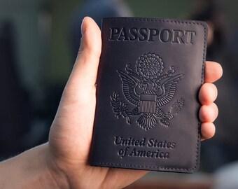 Passport Holder - Passport Cover - Blue Leather Passport Case