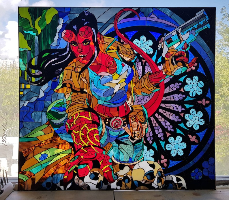 HellGirl Large Stained Glass Window / HellBoy Inspired / image 0