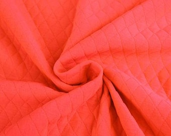 Neon Coral - Quilted knit