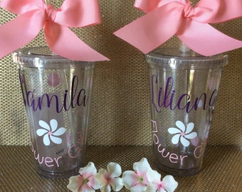 One Personalized Tumbler, Flower girl gift, Wedding Favor, Bridesmaid Gift, Bridal Party, Bachelorette Party, Bridesmaid Tumbler, Teacher