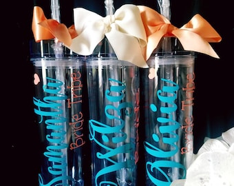 personalized tumbler, bridesmaid gift- bachelorette party, bridesmaid, bridal party, wedding gift, wedding-bride squad tumbler,bride tumbler